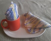 Cotton Knit Dishcloths Washcloths Trivet(s) Dish Rag Hot Pads Set of 2 in Variegated Thread Colors