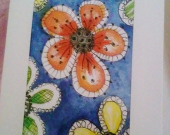 ATC ACEO Frame Greeting Card Doodly Flowers PRINT Gift Card Artist Trading Card Collectible Any Occasion Collectible Art Cards