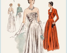 1940s 1950s vintage gown sewing pattern evening cocktail dress pleated bodice Grecian drape bust 30 repro