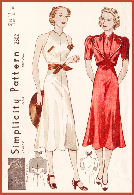 1930s 30s Vintage Sewing Pattern dress heart shaped bolero