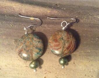 Green Jasper Dyed Earrings!