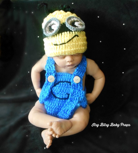 Crochet Patterns For Baby Overalls : Items similar to Baby Minion Outfit for Photo Prop ...