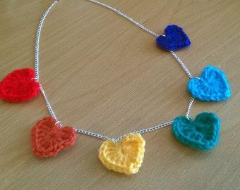 Crochet Rainbow Heart Necklace