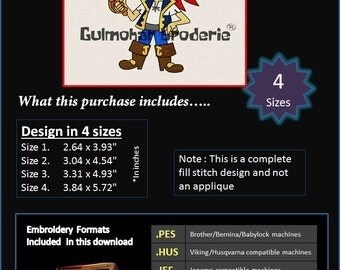 Jake Neverland Pirates Embroidery designs Multiformat Pes, Hus, Jef, Dst, Exp Machine embroidery Disney Junior 4 Sizes Product Code : Jake