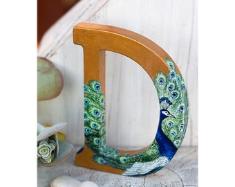 Peacock Gold Letter: Peacock Cake Topper   Stand Alone Letter   Peacock  Reception Decor