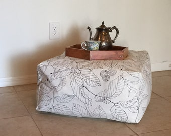 Hand-made, Square Pouf Ottoman -- Made to Order