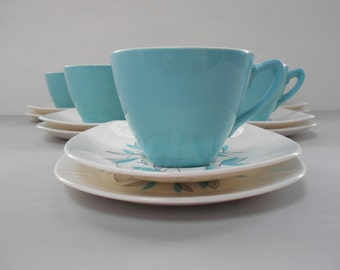 "Midwinter ""Cassandra"" Tea Set Teacups, Saucers and Plates Trios Set of Six 1960's  #10163"