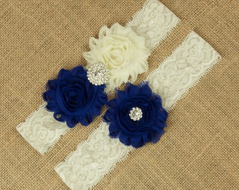 Royal Blue Wedding Garter, Ivory Wedding Garter, Royal Blue Garter, Royal Blue and Lace Wedding Garter, Bridal Garter Set, Garter, SCI1-B04