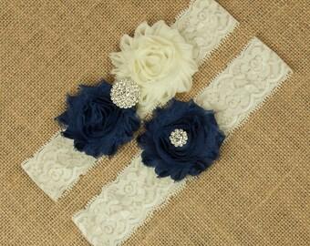 Bridal Garter, Wedding Garter, Navy Blue Wedding Garter, Something Blue, Toss Garter, Keepsake Garter, Shabby Chiffon Flower Garter SCI1-B07