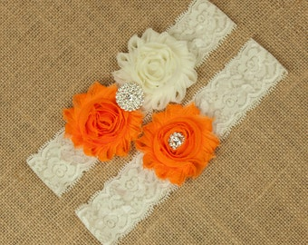 Orange Wedding Garter Set, Bridal Garter Set, Toss Garter, Keepsake Garter, Bridal Garter Belt, Orange Garter Set, Ivory Garter, SCI1-O02