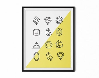 Modern wall art, icon print, gems wall art, black and white art, yellow, geometric, office art, dorm art, wall decor, minimalist art, yellow