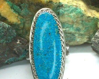 Very Large Kingman Turquoise & Sterling Silver Ring Sz 10 WBC