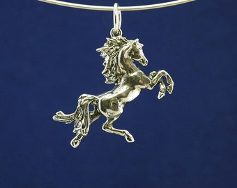 Rearing Horse pendant in 925 sterling silver, the perfect gift for horse lovers