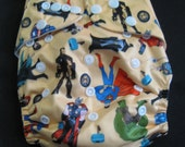 Adjustable Snap Reusable Pocket Cloth Diaper Cover with 2 free inserts Superheros Print