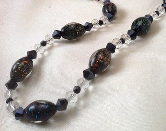 Multicolored Necklace with Dichroic Glass Beads