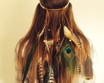 Tribal boho bohemian feather headband hairband with turquoise