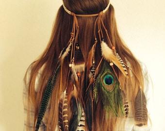 Tribal boho bohemian feather headband hairband with turquoise
