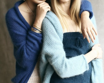 Long Sleeved Angora Wool Hand-Framed Knitted Shrug Fluffy Royal Blue / Electric Blue / Mohair
