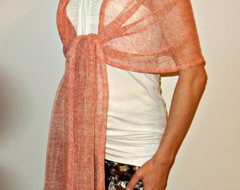 Linen Womens Scarf Knit Shawl gift for her Pastel Coral Extra long Natural linen scarf Wedding Shawl Bridal Wraps Womens Knit Wrap Summer
