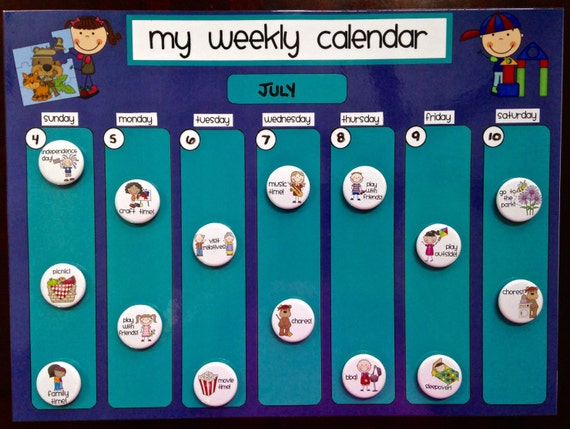 Weekly Calendar Magnet : Weekly kids magnet calendar schedule activity chore chart