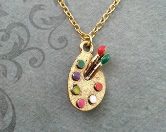 Paint Palette Necklace SMALL Paint Necklace Artist Jewelry Gold Necklace Artist Gift Artist Necklace Paintbrush Necklace Painting Jewelry
