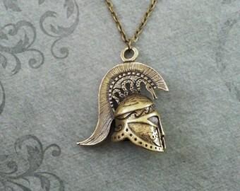 Spartan Necklace Spartan Helmet Necklace Bridesmaid Necklace Sparta Jewelry Spartan Warrior Necklace Sparta Necklace Greek Gift Spartan Gift