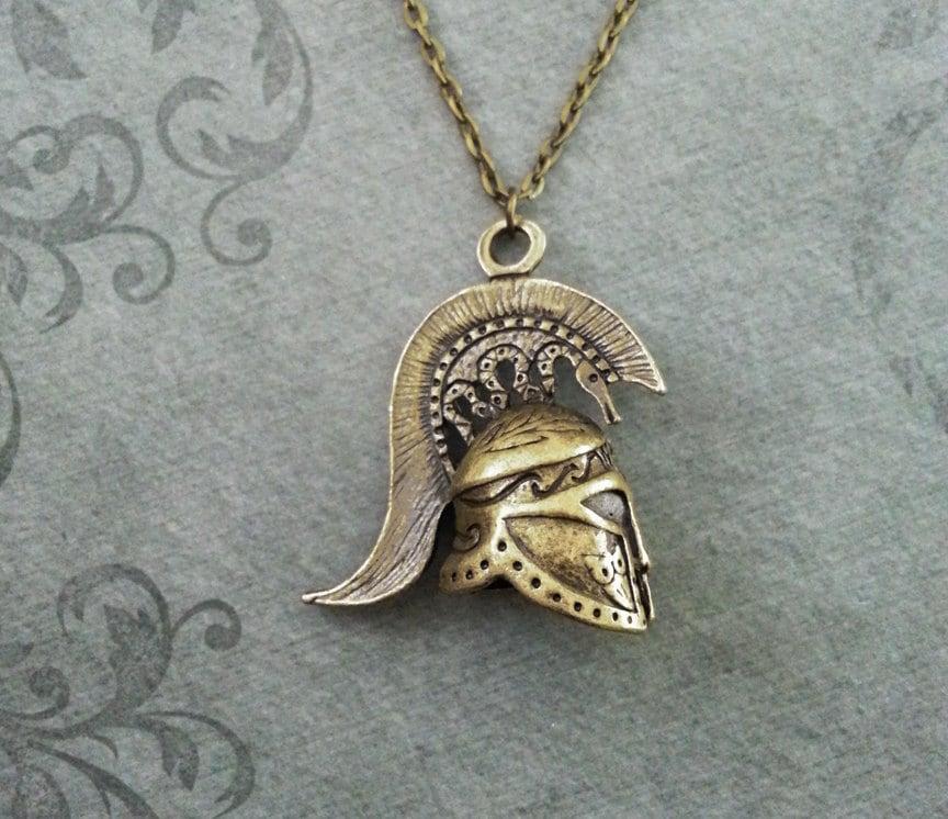 spartan necklace spartan helmet necklace bridesmaid necklace