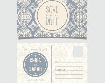 Save the date, Printable, Postcard, Wedding invitation, Digital download, DIY postcard, Damask save the date, Damask invitation, Blue Damask