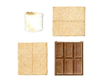 S'mores Deconstructed - Archival print of my colored pencil drawing / food art / kitchen art / wall art