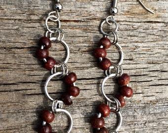 Wooden bead drop earrings