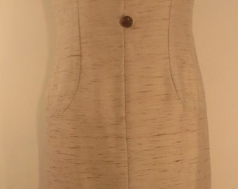 Vintage classic 1960s 'Jackie O' cream shot silk shift dress. Fully lined with fantastic buttons. UK size 12, US 10, EU 40.