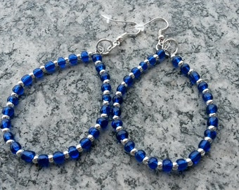Earrings with blue beads and silver