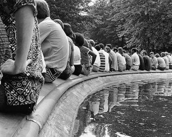 New York City, black and white photograph, Central Park, Sunday afternoon, vintage photo, summer 1967, people listening to music