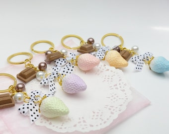 Pastel Strawberry Bag Charm Key Chain