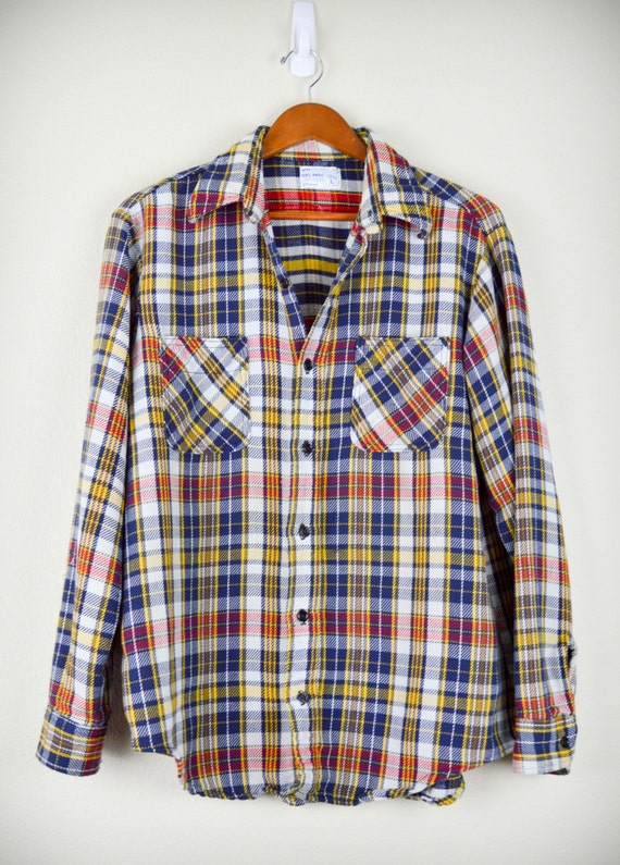 vintage men 39 s flannel shirt size medium large tall big