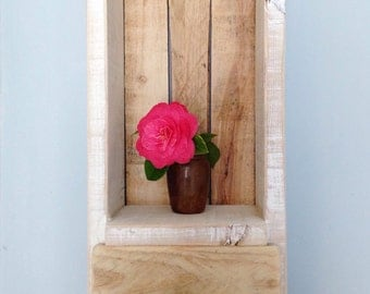 Rustic Wood Shelf with Drawer - Local Cornish Timber & Reclaimed Wood
