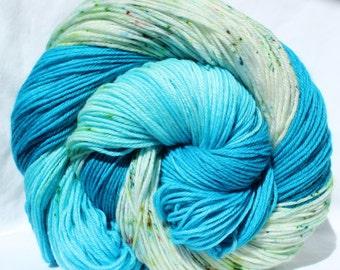 RTS Hand dyed yarn, Turquoise / Blue yarn, speckled yarn, worsted weight yarn, superwash merino wool yarn, 100g