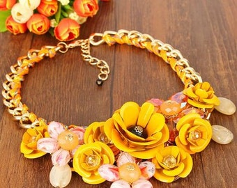 Yellow  Flower Cluster Statement Necklace - Yellow Statement Necklace - Vintage Flower Necklace