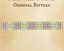 Strawberries n Cream Seed Bead Pattern Loom Cuff Bracelet PDF File Beaded Beadweaving Weaving Native American Tribal Immediate Download