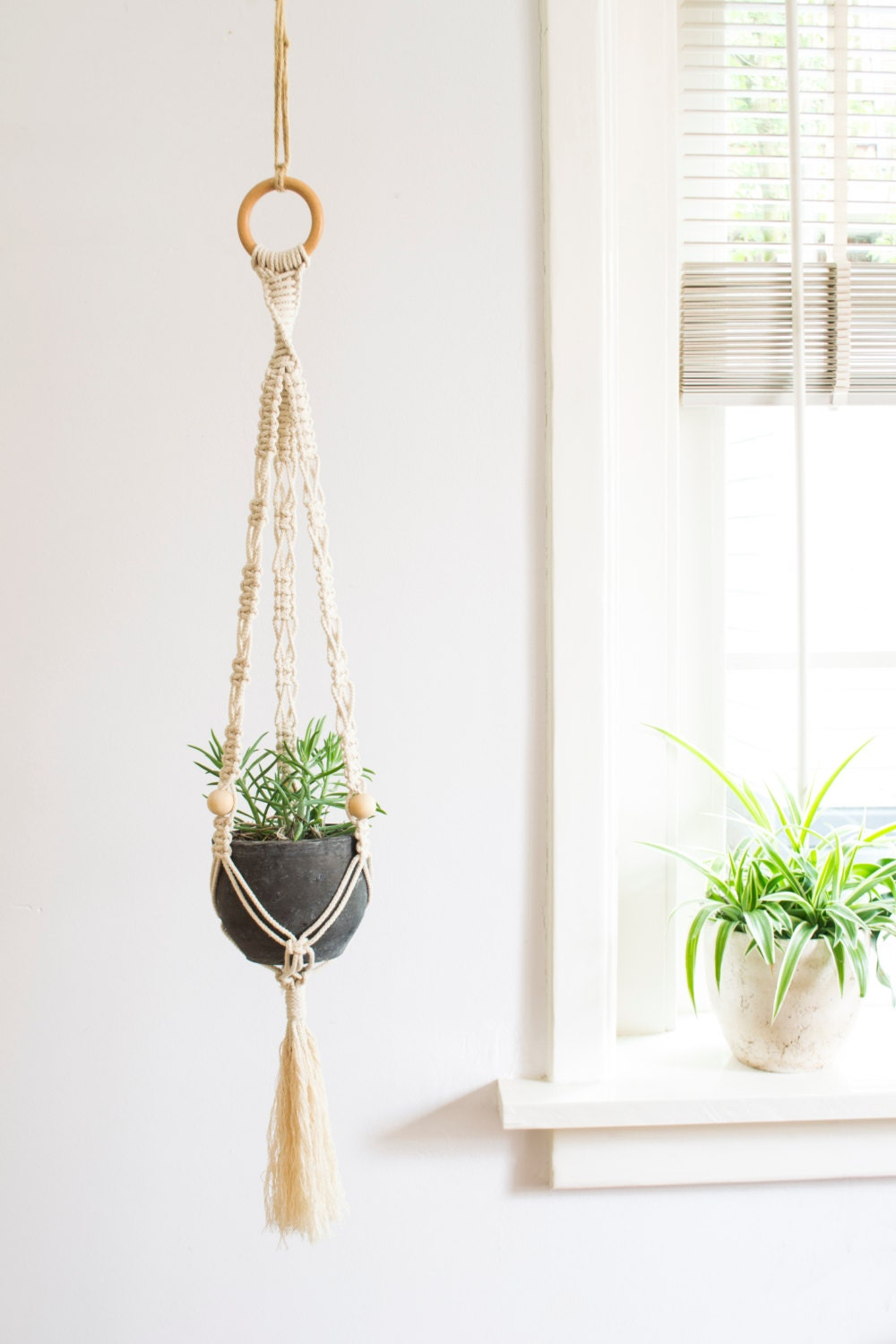 macrame plant hanger 32 inch 1 8 inch braided cotton cord. Black Bedroom Furniture Sets. Home Design Ideas