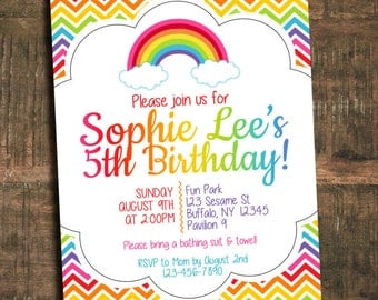 Rainbow Birthday Invitation - Digital File