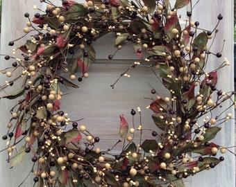 Grapevine Wreath - Pip Berry Wreath- Berry Wreath with Leaves- Door Decor