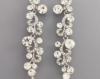 White Crystal Scroll Cascade Earrings