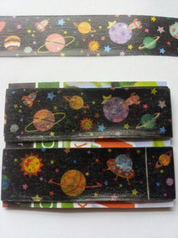Outer space planets stars ufo spaceship washi tape paper deco for Outer space paper
