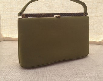 Green Faux Suede-Velvet Handbag With Snakeskin Top Bar by Leon of California