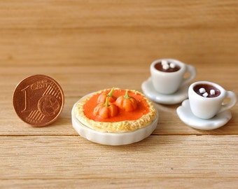 "A Series Of ""Halloween"".Pumpkin Pie and two cups of chocolate a dollhouse for Halloween 1:12"