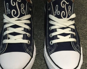 Navy and White Monogram Converse Sneakers, Navy and White Personalized Converse Sneakers, Navy and White Monogram Sneakers, Navy Converse