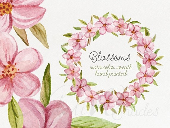 Blossoms Watercolor Wreath Hand Painted Floral Wreath