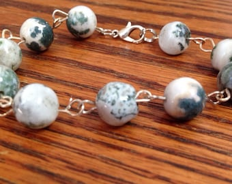 Ocean jasper bracelet with silver colored accents