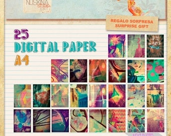 25 digital papers for scrapbooking, crafts, art journal...